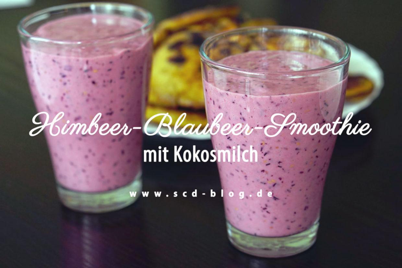 Himbeer-Blaubeer-Smoothie mit Kokosmilch
